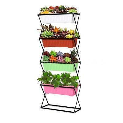 4 Tier Metal Folding Plant Stand Garden Planter Flower Pot Stand Display Y6P0