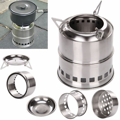 Portable Stainless Steel Wood Stove Outdoor Camping Cooking Firewood Burner