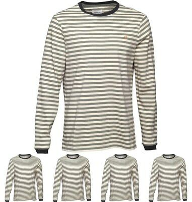 SPORTIVO Farah Vintage Mens Ally Stripe Long Sleeve T-Shirt Palm Small Chest 35