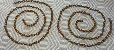 Vintage 2 Large Rusty Chains Industrial Steampunk Art Farm Hanging -10 FEET EACH