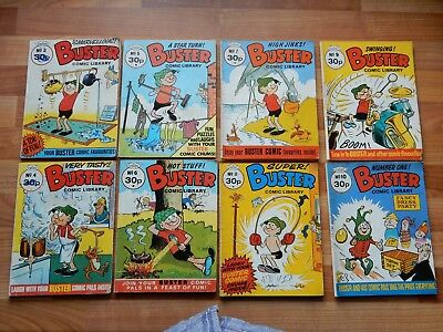 x8 RARE VINTAGE BUSTER Comic Library No 3-10 c.1987, British Comics UK Humour