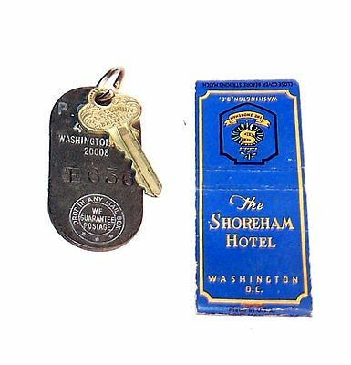 Vintage Shoreham Washington DC Hotel Motel Room Key Matchbook Cover Ex MkOfr