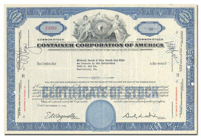 Container Corporation of America Stock Certificate