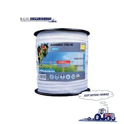Horizont Farmer T40-w 200M roll of 40mm White Electric Fencing Poly Tape 17458