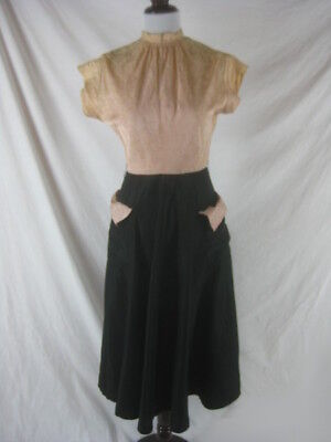 Vtg 40s 50s Pink Black Womens Vintage Full SKirt Party Dress W 25