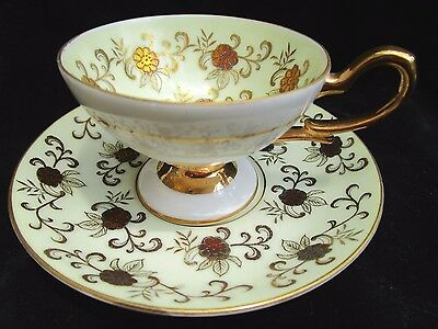 Vintage Wako China Occupied Japan Footed Tea Cup & Saucer Jeweled & Gold Floral