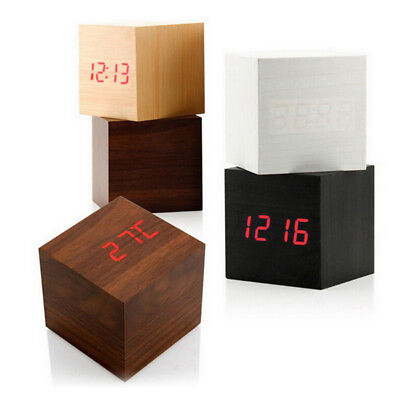 Modern Cube Wooden Digital LED Desk Voice Control Alarm Clock Thermometer
