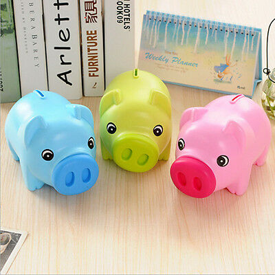 Piggy Bank Money Box For Saving Coins & Cash Fun Gift Plastic Novelty Pig Safe