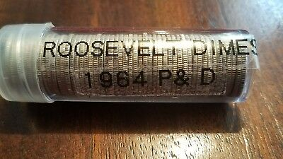 U.s. Silver 1964 Roosevelt P&d Mint Dimes One Roll 50 Coins Great Cond. 90% Silv