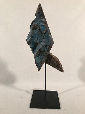 """Hand-Carved Wooden Solid Horse Head 15.5"""" Old Time Stress Cracks ~ Blue"""
