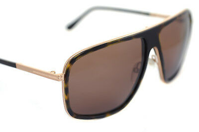 3aa4eb8b8b TOM FORD QUENTIN TF463 52K Mens Square Aviator Sunglasses DARK HAVANA BROWN  GOLD
