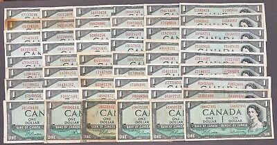 1954 Bank of Canada $1 - Lot of 78 Notes - Lower Conditions - Sale