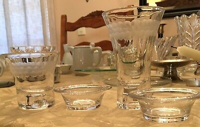 Partylite Crystal, Etched, 4 Piece Votive, Tealight, And Taper Candle Holders