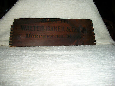 "side of vintage wooden box ""made by Walter Baker & co. Dorchester Mass."