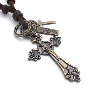 Fashion jewelry High quality Brown leather Medieval bronzed crucifix necklace