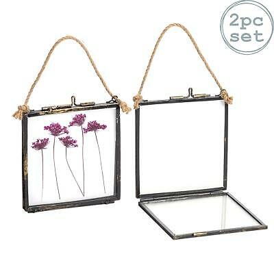 Hanging Photo Frame Vintage Glass Picture Square Display 4x4 Photos - Pack of 2