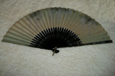antique Japanese silk hand painted fan