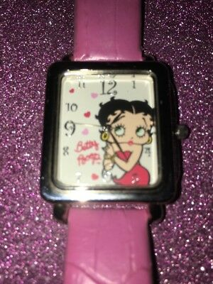 Betty Boop women's watch pink leather band 2006 Clicks world wide 72BBF002 NICE