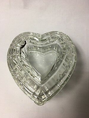 Large Heavy Bevel Cut Heart Shaped Covered Candy/Trinket Dish