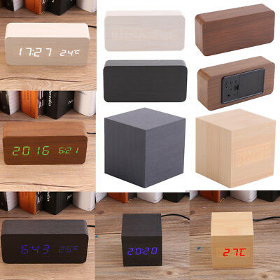 Electronic Wood Wooden USB Digital LED Alarm Clock Thermometer Voice Control