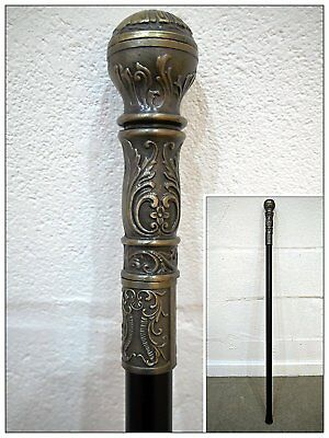 Gentleman's Classic Antique Round Head Walking Stick Cane Handle Silver Finish