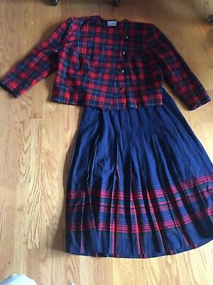 Pendleton  Plaid Scottish Tartan Wool Plus Size Outfit Jacket & Skirt 16-18