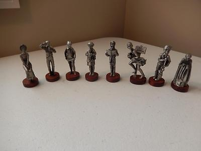 """Norman Rockwell PEWTER FIGURINES - Set of 8 (Approx 2.75"""" Tall)"""