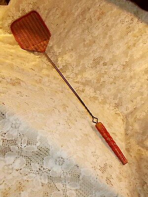 Vintage ANTIQUE Fly Swatter Unused Heavy Duty Red Handle