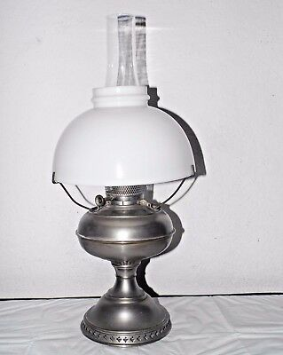 GONE WITH THE WIND DELUXE VINTAGE NICKEL OIL BURNER HURRICANE LAMP w/SHADE