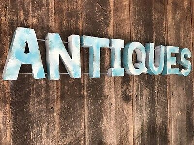 """Large Industrial """"ANTIQUES """" Metal Letter Sign - Distressed Turquoise/White"""