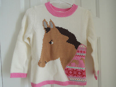 Girls L 8-10 Horse Sweater NEW Garnet Hill $68 Fair Isle Ivory