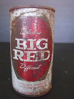 Vtg BIG RED Straight Steel Flat Top Can Pull Tab Rusty Faded Patina