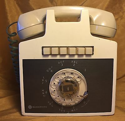 Vtg Western Electric 851 Rotary 6-Line White Wall Hanging Phone TV / Film Prop