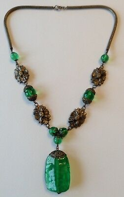 Vintage Art Deco Sterling Silver Panel And Green Bead Pendant Necklace