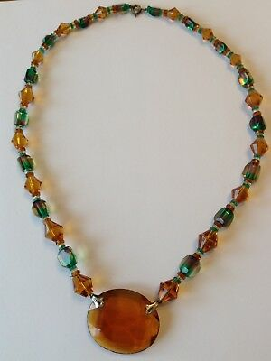 Vintage Art Deco Amber And Green Glass Bead Pendant Necklace