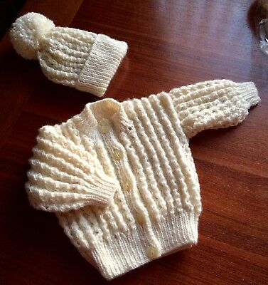 New Hand Knitted Baby Cardigan And Hat Set In Cream