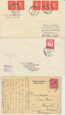 1960-67 lot of 5 x Aden Paquebot / Posted at sea covers + 1922 postcard Centaur