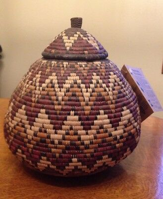Hand Made Traditional Zulu Basket With Signed Tag