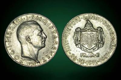2 FRANGA ARI . SILVER COIN . 25th anniversary of independ . ALBANIA 1937 - 1
