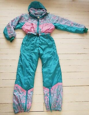 Vtg 80s FRENCH Anoralp SKI SUIT Snow Pockets One Piece Women's Teal Abstract M