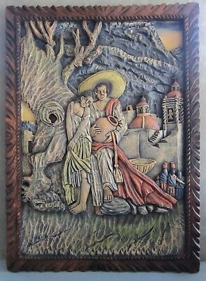 "Vintage Mexican Bas Relief Wood Carving, 16"" x 22"" Mexico Folk Art, Romantic"