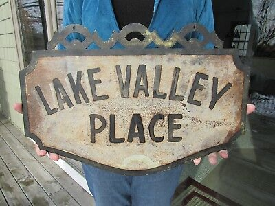 ORIGINAL 1900 - 1930's DOUBLE SIDED DIECUT METAL ''LAKE VALLEY PLACE'' SIGN