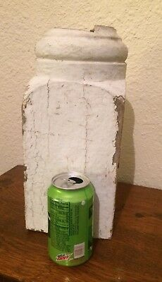 Antique Vintage 19c Wood large porch post column base White shabby candle holder