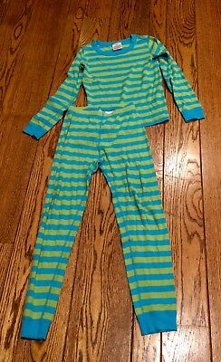 Hanna Andersson Blue Green Striped Long Sleeve Pajamas 140 US 10