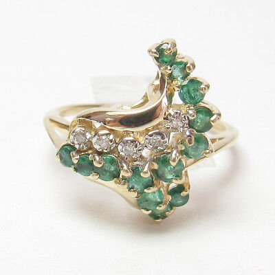 Estate $1600 14K Yellow Gold 13 Natural Green Emerald And Diamond Ring 0.65 Cts