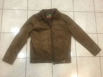 New A.G. Milano Collection Brown Suede Mens Zippered Jacket Size M Made in Italy
