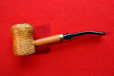 Vintage Missouri Meerschaum Great Dane Spool Corn Cob Pipe Brass Band - New Bit