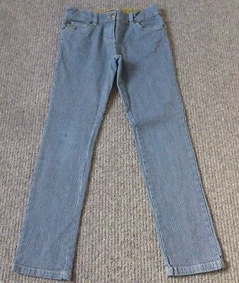 Girl's Mini Boden Blue & White Stripe/Pinstripe Skinny Jeans/Trousers - 11 Yrs