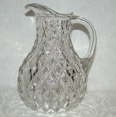 Vintage Pressed Glass Diamond Motif Clear Water Pitcher