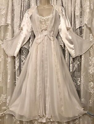 VTG W White Bridal F Nikrooz Sheer Peignoir Robe Nightgown Negligee Gown SET XL